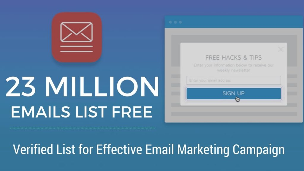 Email Marketing: Download 23 Million Verified Emails List Free