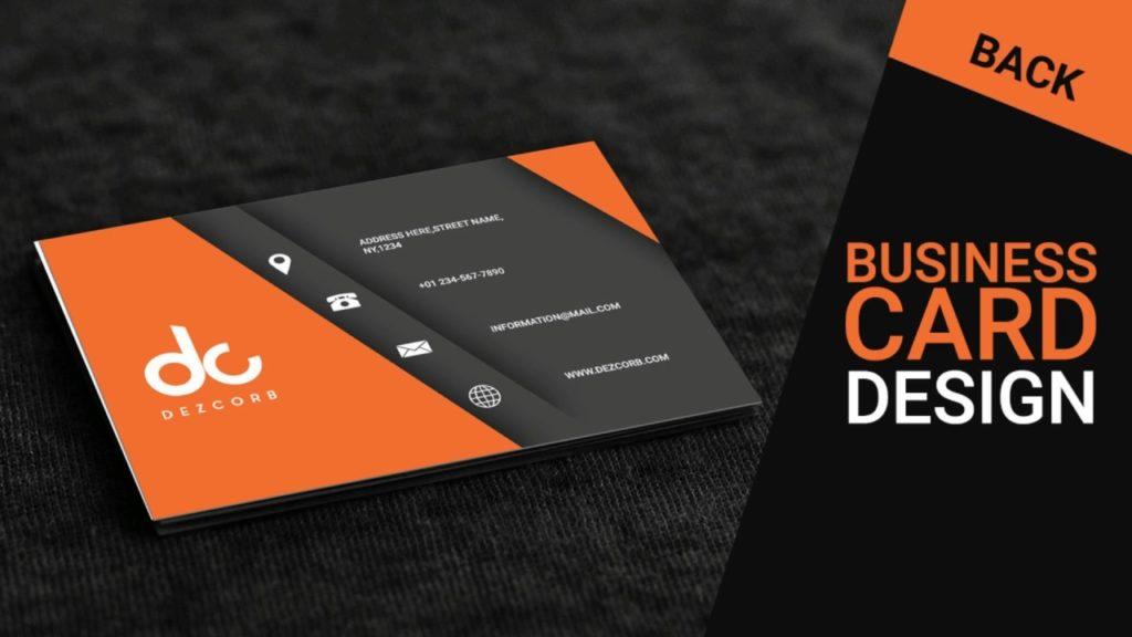 Business card design in photoshop cs6   Back   Orange   Gray