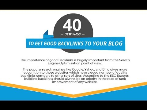 40 Best Ways To Get Good Backlinks To Your Blog