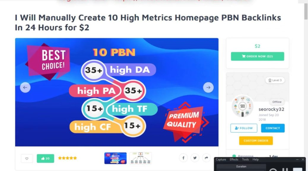 Buy Manually Create 10 High Metrics Homepage PBN Backlinks On SEOClerks